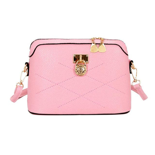 Women's Designer Fashion Shell Lock Pink Crossbody Shoulder Bag - ICU SEXY