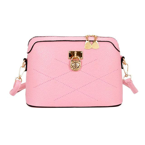 Women's Designer Fashion Shell Lock Pink Crossbody Shoulder Bag - icu-sexy
