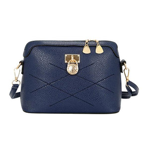 Women's Designer Fashion Shell Lock Blue Crossbody Shoulder Bag - icu-sexy