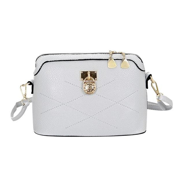 Women's Designer Fashion Shell Lock White Crossbody Shoulder Bag - icu-sexy