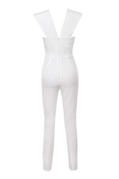 Gray Deep v Neck Fitted Elegant White Sexy Bodycon Jumpsuit - icu-sexy