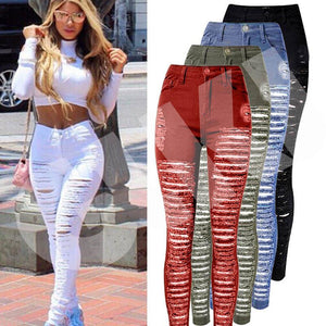 Sexy Women High Fashion Ripped Denim Jeans Skinny Hole Pants - ICU SEXY