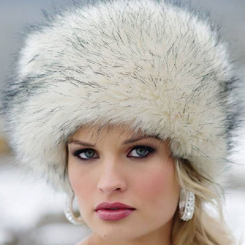 Fashion Women Lady Faux Fox Fur Cossack Style Russian Winter Hats Warm Cap - icu-sexy