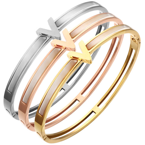 Stainless Steel V Charm Bangles Bracelet | Famous Luxury Brand Jewelry - ICU SEXY