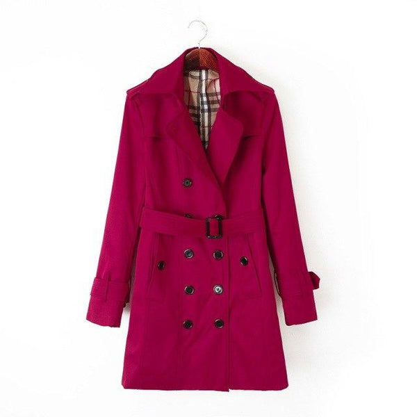 Women's European Designer Double Breasted Trench Coat in 3 colors