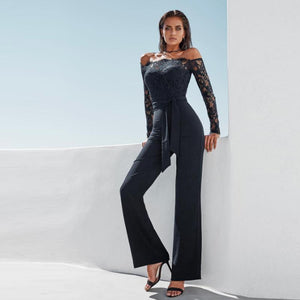 Long Sleeve Lace Patchwork Fashion Full Lenght Rompers Off Shoulder Sexy Long Style Jumpsuit - ICU SEXY