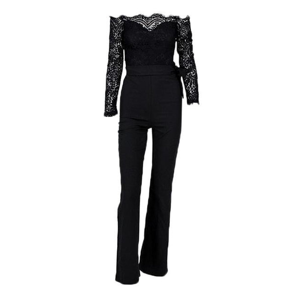 Long Sleeve Lace Patchwork Fashion Full Lenght Rompers Off Shoulder Sexy Long Style Jumpsuit - icu-sexy
