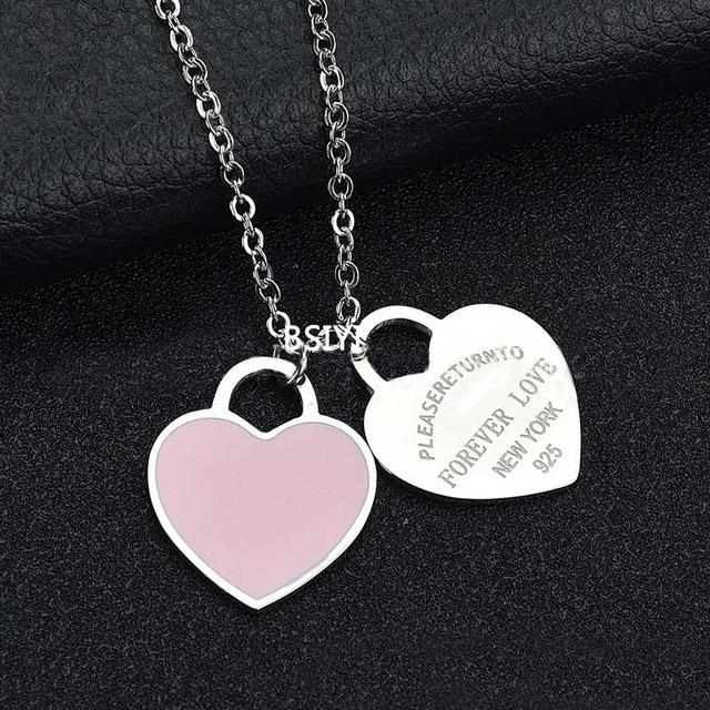 Gold Stainless Steel Heart Necklace Pink Enamel Pendant Necklace - ICU SEXY