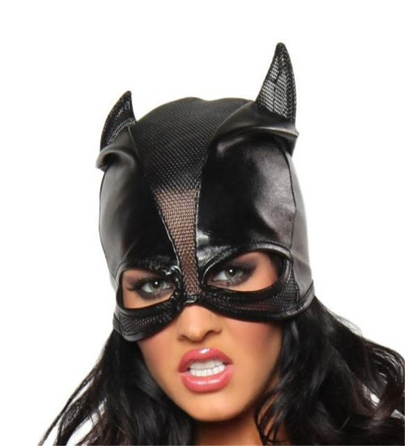 Black PVC Catwoman Leather Wet Look Mask - ICU SEXY