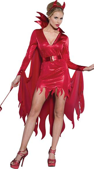 Gothic Vampire Costume Evil Queen Adult Costume Red Fancy Dress - icu-sexy