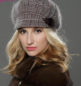 NEW Style Women Winter Brim Knitted Wool Angora Hat - icu-sexy