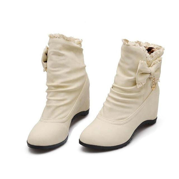 Womens's High Fashion Fashion Bow Lace Solid Round Toe Platform Shoes Ankle Boots - icu-sexy