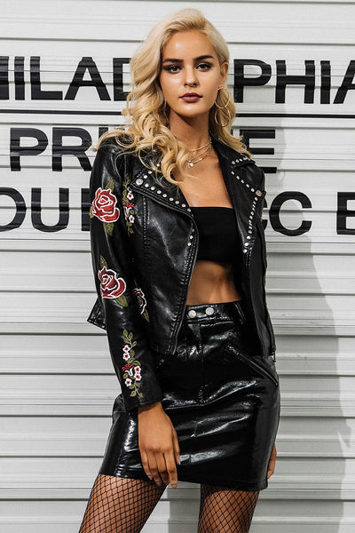 Women's New Hot Designer Flower Embroidery Riveted Motorcycle Jacket - icu-sexy