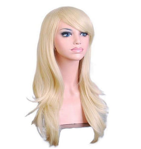 Long Blonde Wig With Side Bangs For Women High Temperature Synthetic Hair Wigs - ICU SEXY