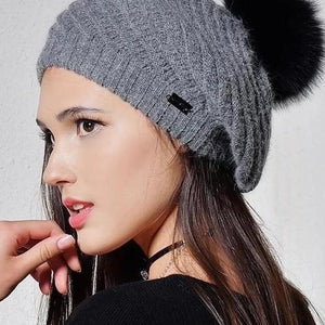 Women's Popular Fashionable Angola Rabbit Fur Knitted Beret Hat - icu-sexy