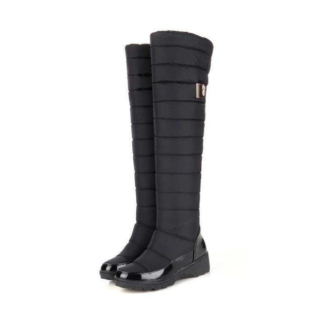 Women's warm knee high boots round toe down fur waterproof winter boots - icu-sexy