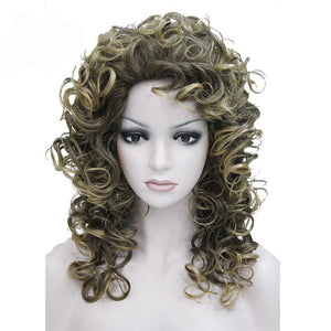 Women's Popular Medium Highlighted Brown Layered Curly Frontal Wig - icu-sexy