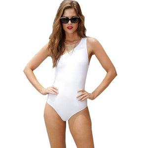Women's Fashion One Piece Black Bandage Over The Shoulder one Piece Swimsuit - ICU SEXY