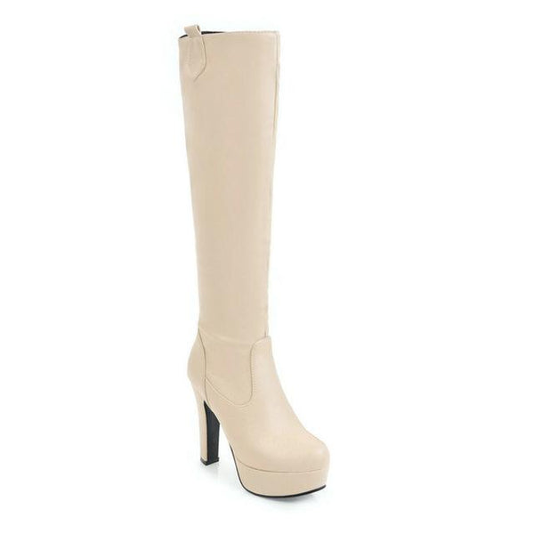 Women's Knee High PU Leather Slip on Fashion Round Toe Platform Boots - icu-sexy