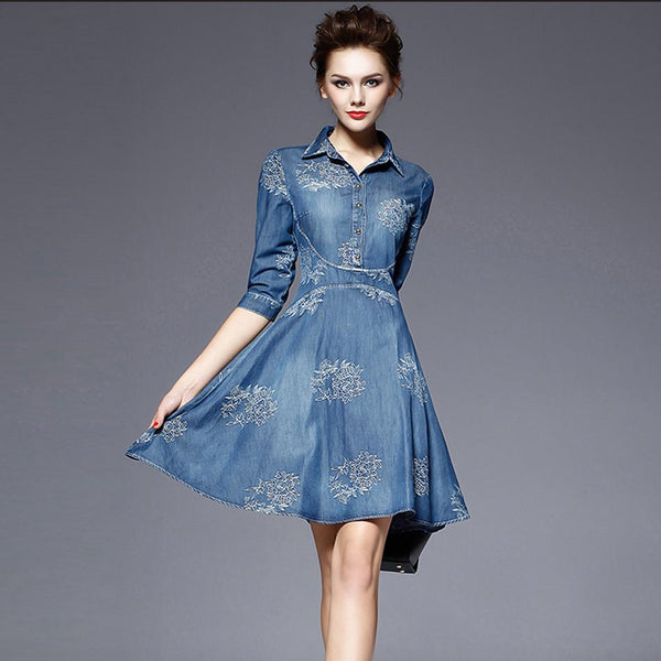 Popular Designer Vintage Embroidery Denim Dress - ICU SEXY