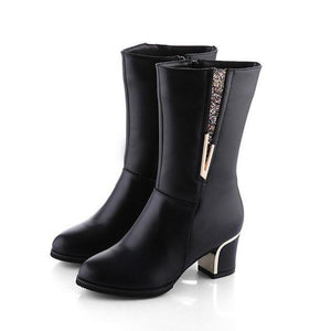 New Brand Winter Women's MId-calf Low High Heels Fashion Boots - icu-sexy