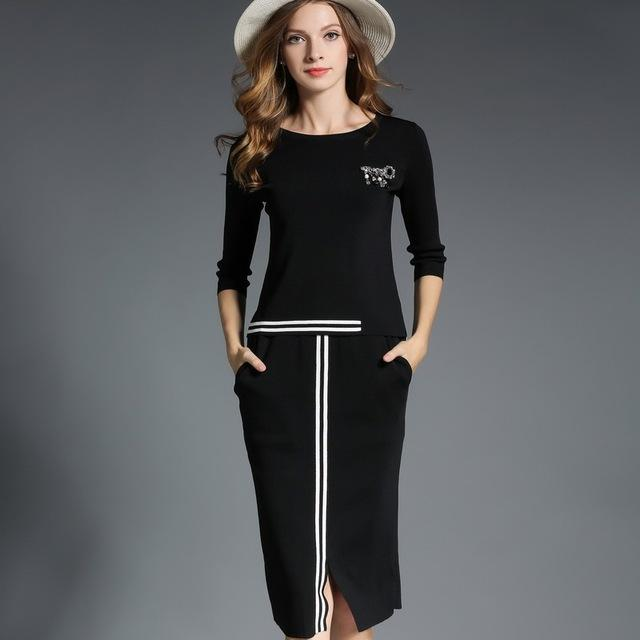 Womens Fashion 2 Piece Set Pencil Skirt Set Outfits In Black and White - ICU SEXY