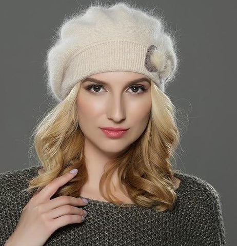 Women's Wool Angora Knitted Beret Cap - icu-sexy