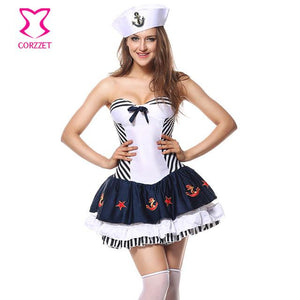 Blue & White Navy Uniform Women Sexy Sailor Costume - icu-sexy