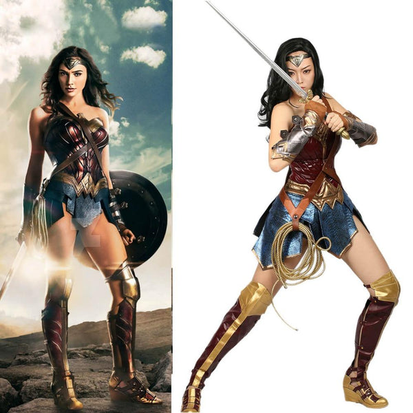 Wonder Woman Costume DC Comic Superhero Cosplay Outfit Sull of Suit Carnival Show Halloween Costume for Women Adult Size - icu-sexy