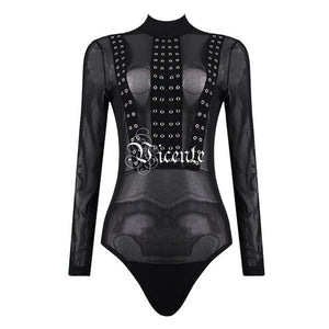 Pre-order Free Shipping!  New Fashion Elegant Rivet Embellished Mesh Patchwork Bodysuit - icu-sexy