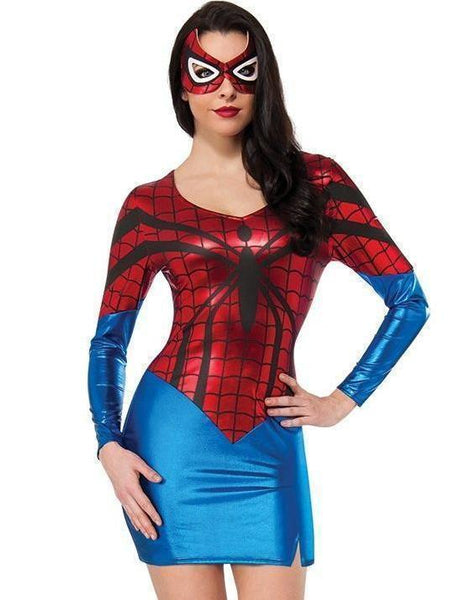 Womens Spiderman Cosplay Costume Dress and Mask - icu-sexy