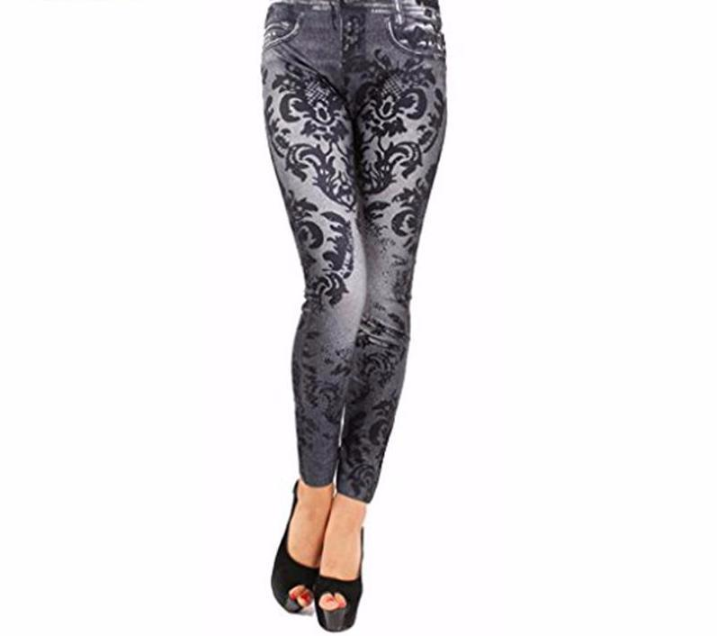 Women Fashion Denim Jean Leggings - icu-sexy