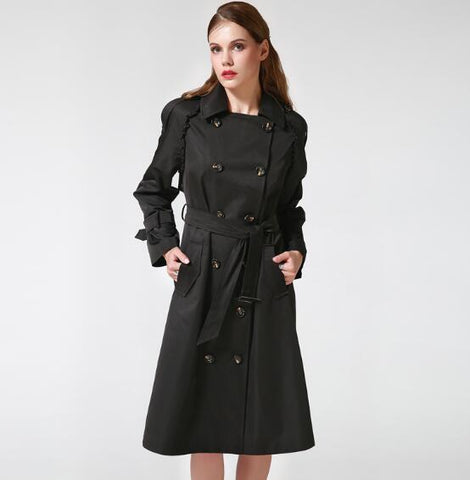 Women's Double Breasted Trench Coat With Adjustable Waist Solid Black