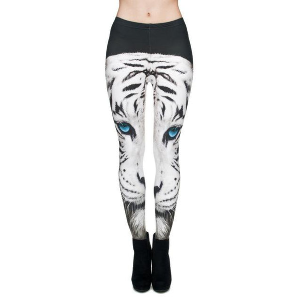 Fashion White Tiger 3D Print Leggings - icu-sexy