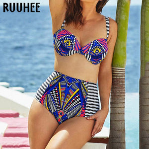 Women Bikini Set Sexy Printed Push Up Bikinis Maillot De Bain Biquini Beach Swimsuit Bathing XXXL - icu-sexy