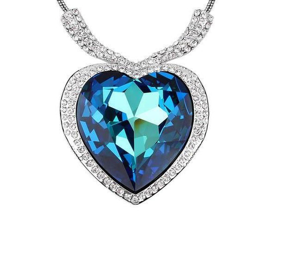 Sapphire Blue Crystal Ocean Heart Pendant Necklace - ICU SEXY