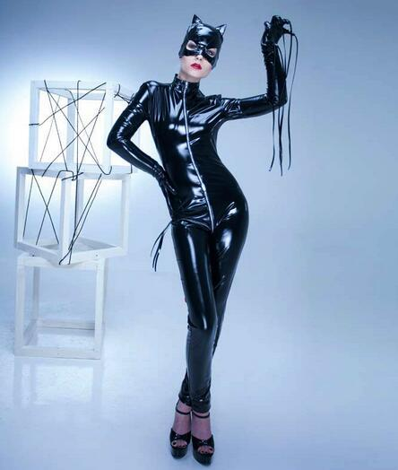 Red Hot Catwoman Costume Open Crotch Jumpsuit - icu-sexy