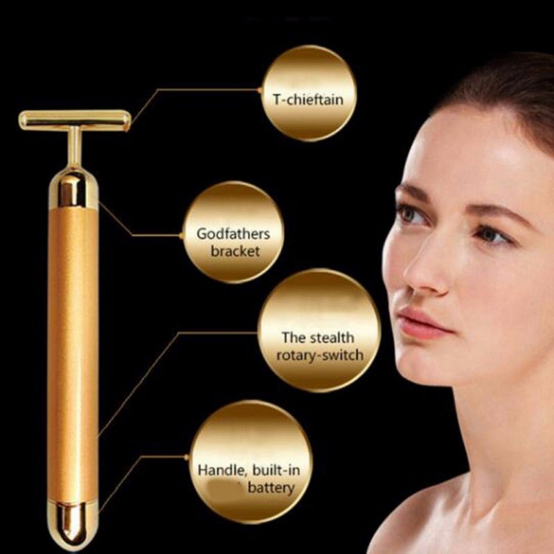 Slimming Face Gold Vibration Facial Beauty Roller Massager - ICU SEXY
