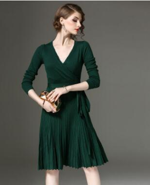 High Quality Elegant Winter V Neck Dress Decorative Sashes V-Neck - icu-sexy