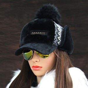 Women's Hot Winter Fashion Faux Cashmere Bomber Hat with Visor and Earflap - ICU SEXY