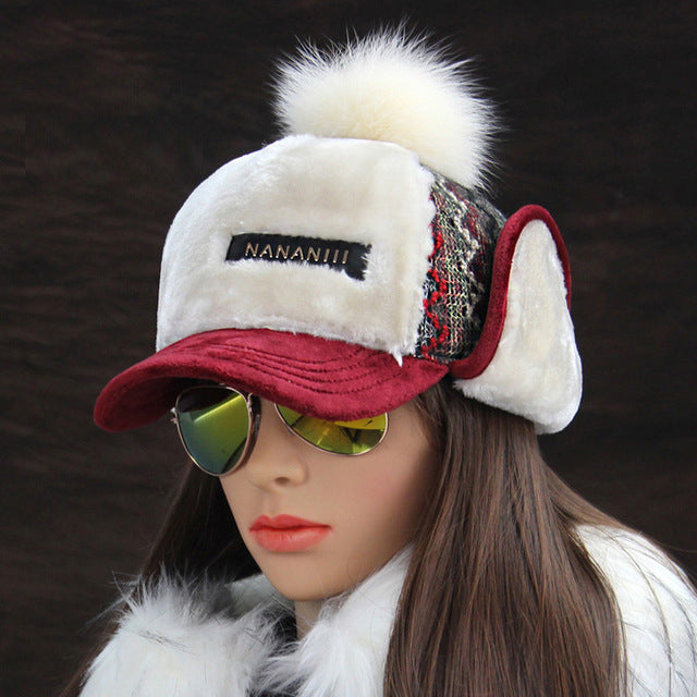 Women's Hot Winter Fashion Faux Cashmere Bomber Hat with Visor and Earflap - icu-sexy