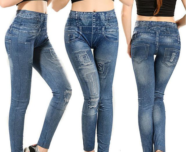 NEW Women Skinny Jeggings Slim Leggings Jeans Denim High Waist Casual Patch Faded Ripped Pants Blue - ICU SEXY