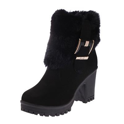New Fur Ankle Boots Winter Waterproof Boots For Women Belt Buckle Anti-slip Martin Boots - icu-sexy