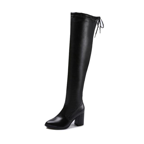 Slim Over The Knee Boots Women Fashion  Pointed Toe Thick Heel Bowtie Thigh High Boots - ICU SEXY