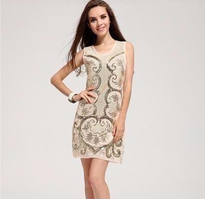 Retro 1920s Art Deco Glamour Gatsby Mini Party Embroidered Sequins Dress - icu-sexy