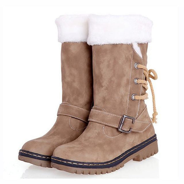 Women's Martin Fashion Woolen Platform Waterproof Boots - ICU SEXY