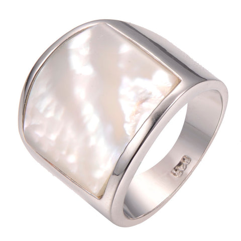 Shimmering Pearl Shell Cigar Band in 925 Sterling Silver - ICU SEXY