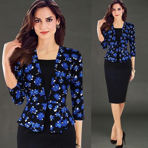 New Classic Blue Floral Career Dress - ICU SEXY