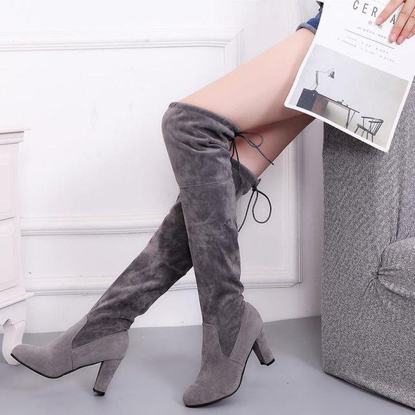 Suede Slim Boots Sexy Over The Knee high Boot Collection - icu-sexy