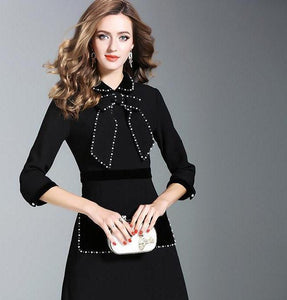 Famous Designer Pearl Rhinestone Black Bow Colar Skirt Suit Professional Women's Business Attire - icu-sexy